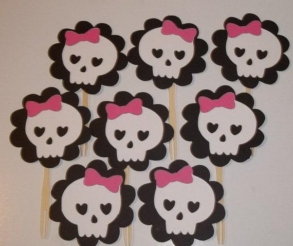 Girly Skull Cupcake Toppers, Rock Princess, Pink,Rock Star Birthday, Monster High Inspired, Punk, Princess, Skulls