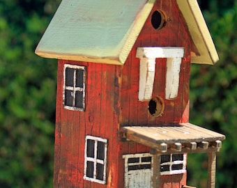 Vintage bird house, large bird house, barn bird house, functional bird house, folkart bird house, Rustic Bird house, Bird House