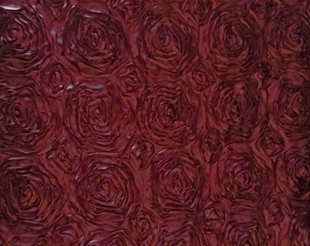 "Satin Ribbon Rosette 58"" - 60""  Burgundy Fabric 1 Yard"