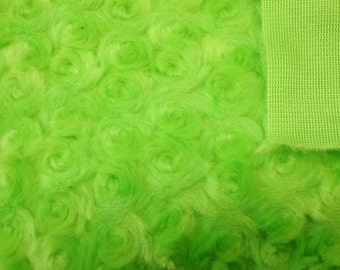 Minky Cuddle Rosebud Lime Green 1 Yard