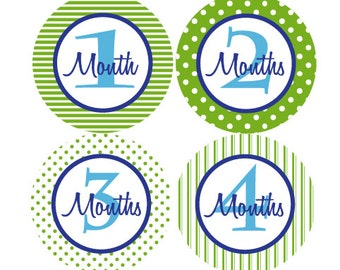 Boy Monthly Photo Stickers - Baby Boy Monthly Milestone Stickers - Green and Blue Month Stickers - Baby Shower Gift - Photo Prop - Pete-T