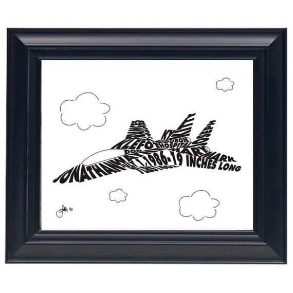 F-14 Jet Fighter  - Custom Personalized Newborn Print UNFRAMED