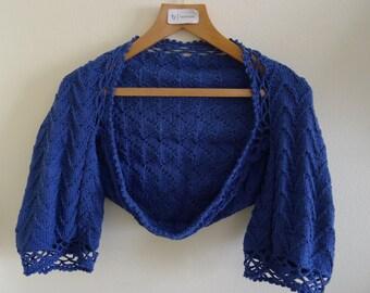 Hand Made Knitted Royal Blue Bolero , Shrug Bolero- Chic Elegant Women Accessories - jacket bolero, crochet ,