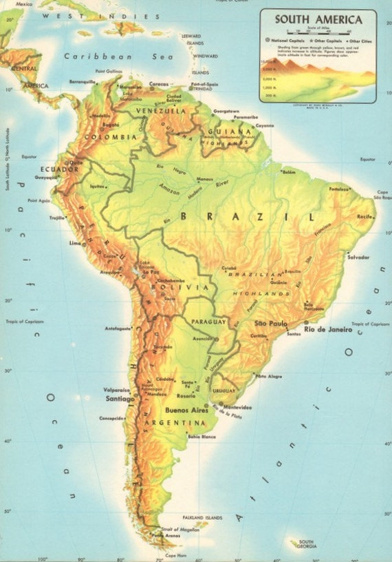 Items similar to Vintage Physical Map of South America Large Colorful Retro