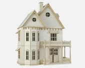 Gingerbread Victorian Dollhouse Kit, Journey's House of Dreams, 1:12 Scale Doll House Kit.  Heart motif, wood.