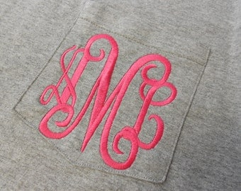 SALE! Monogram Long Sleeve Heather Grey Pocket Tee  Font shown INTERLOCKING in bright pink