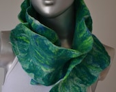 "Felted Ruffle Scarf, Handmade By Pambatam, One of a Kind, Wearable Art  ""Creature"""
