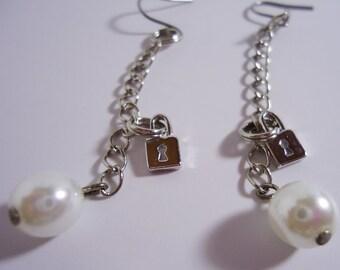 Handmade Long Key Lock Pearl Earrings