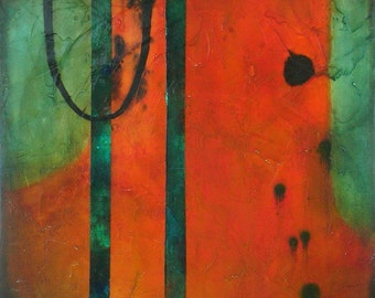 "SALE Abstract Acrylic Art on Canvas with Collage and Glossy Finish by Sarah Ettinger, 24"" x 24"""