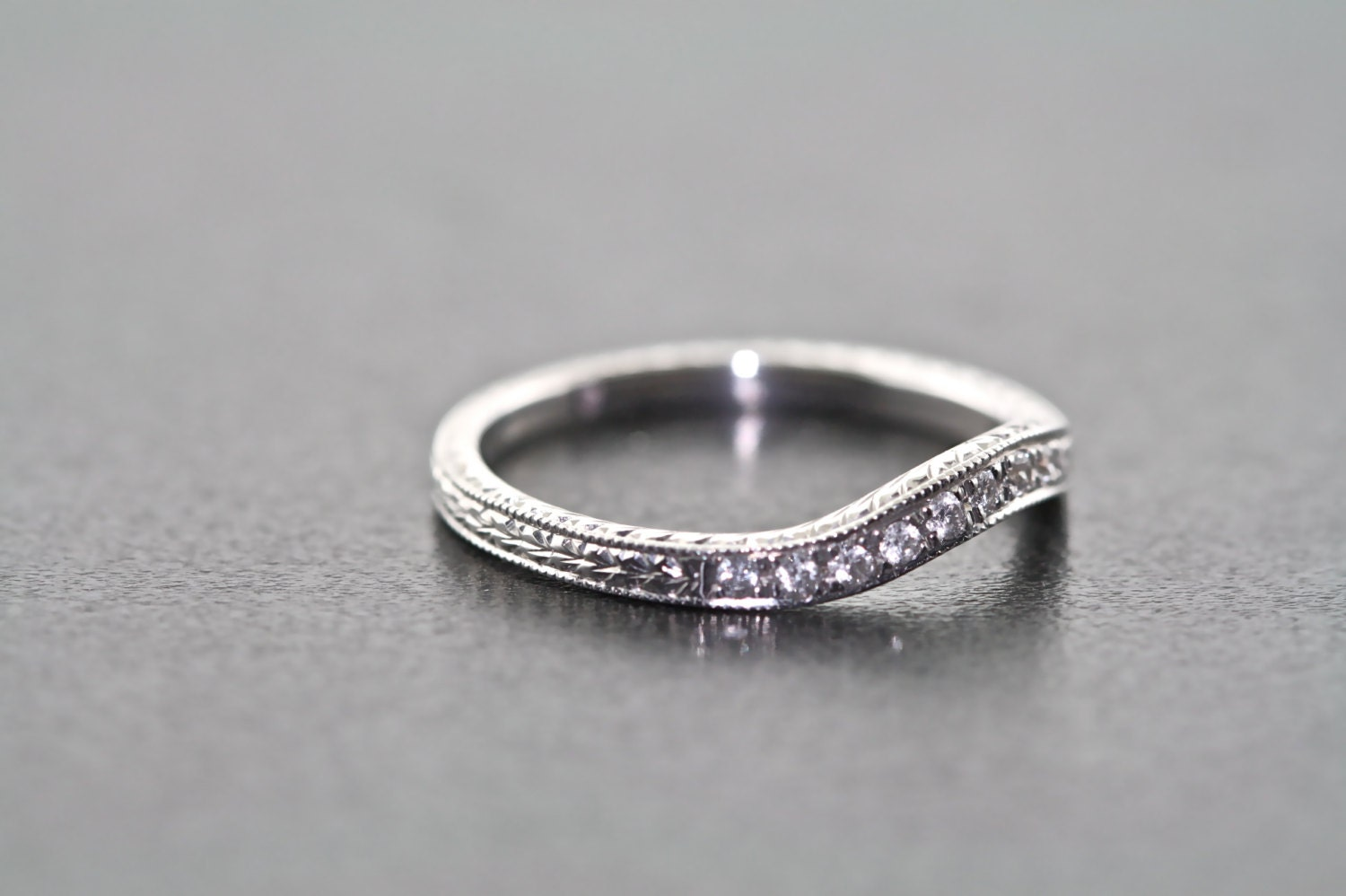 18kt white gold hand engraved estate style curved wedding band