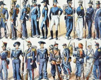 Vintage French DICTIONARY ILLUSTRATION, A4, 2 sided, Navy Costumes. Larousse universel, 1949. Costume Print.