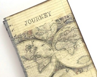 Pocket Travel Journal, World Map Journal, Mini Altered Notebook, Travel Pocketbook, Journey, Old World Map, Wanderlust