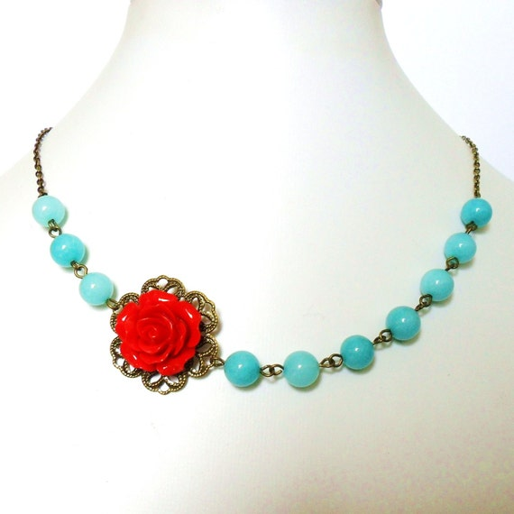 Red Rose Necklace, Rockabilly Flower Necklace, with Aqua Blue Jade and Antique Bronze - Pin Up Burlesque Glamour Belle