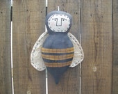 Primitive Grungy Bee Fabric Art Doll/Wall Hanger