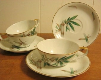 Vintage Noritake Canton 5027 Bamboo Pattern cups and saucers