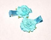 teal rose clippies- girls hair flowers- rose hair accessories