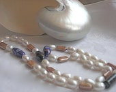 Elegant pearl necklace big freshwater pearls elegant white and lampwork beads