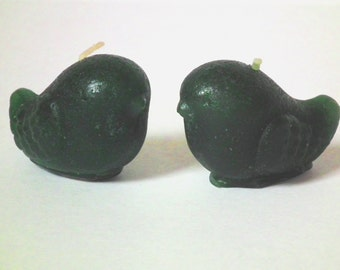 On clearance ~ pair of dark green lovebird votive candles, small bird shaped candles, centerpiece, two candles, green wedding decor