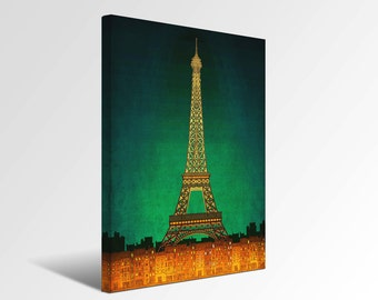 Paris by night - Paris Canvas print Ready to hang Eiffel tower Art Prints Home decor Wall decor Wedding gift ideas Living room decor Green