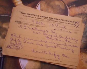 3 1900s Antique Handwritten Paper Telegraphs Telegrams