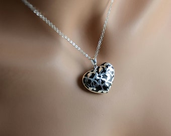 Heart Necklace for a Woman. Heavy Sterling Silver Heart Pendant. Nature Inspired Motif Mother's necklace, Wife's necklaceSterling Jewelry