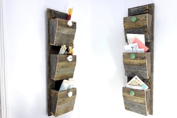 Reclaimed Wood Craft Organizer - Handmade Rustic 3 Bin Mail Sorter - White  Knobs - 3 - Reclaimed Wood Craft Organizer Handmade Rustic 3 Bin Mail
