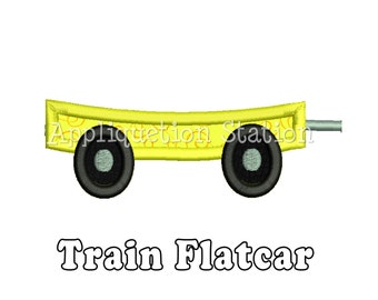 Train Flatcar Applique Machine Embroidery Design boy Flat Car INSTANT DOWNLOAD