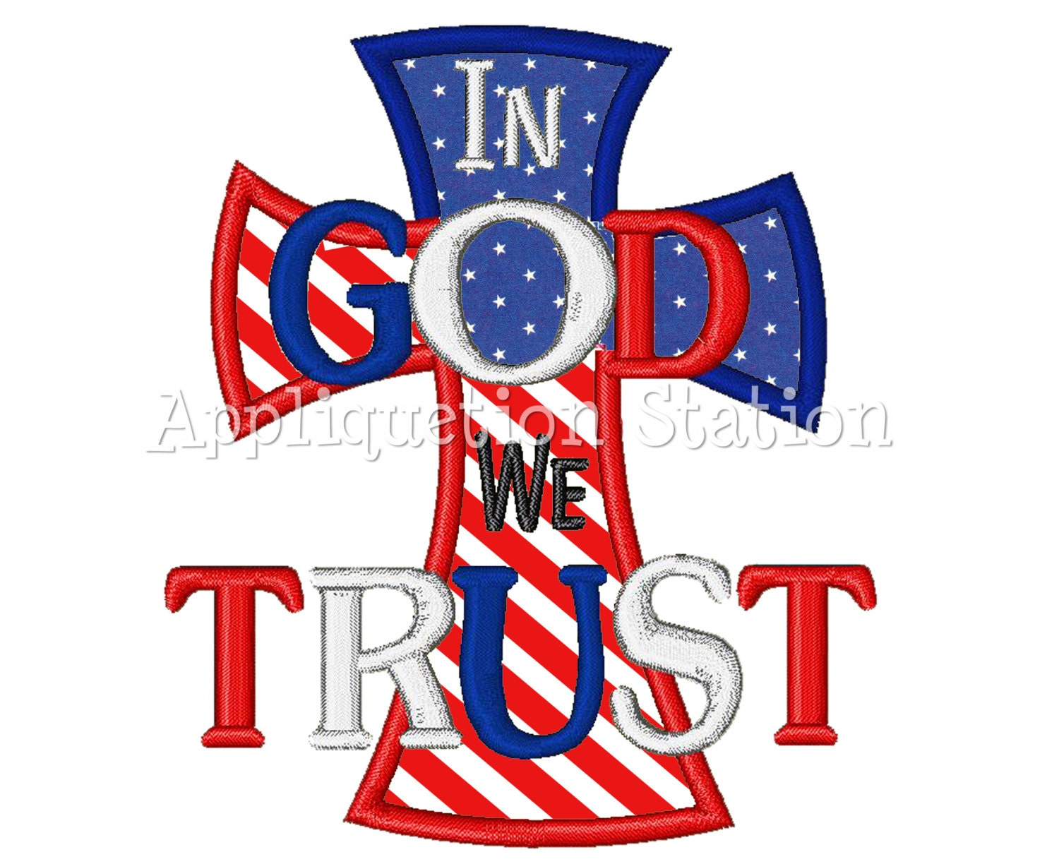 In God we Trust Applique Machine Embroidery Design Pattern