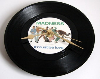 "MADNESS Vinyl Record CLOCK from recycled 7"" single ""It Must Be Love"". Boxed. Cool fun gift for men or women"