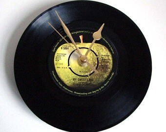 """George Harrison Vinyl Record CLOCK from original recycled 7"""" record. """"My Sweet Lord"""". Great Wedding Anniversary or Birthday present..."""