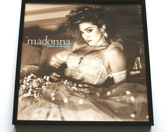 """Madonna Album Cover. """"Like A Virgin"""" FRAMED. Vintage Record Sleeve in a Brand New Frame. Great Gift for mums, sister, best friend, 80s retro"""