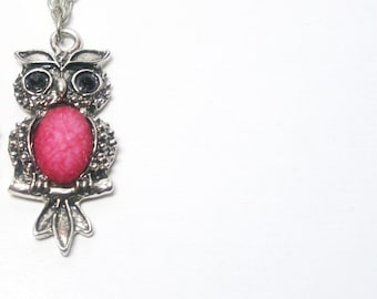 Owl Necklace-Owl on the Branch -Silver fuschia  Bird On Branch Gift For Her