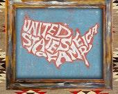 USA american united states america flag rustic americana vintage antique wall art print type poster design graphic folk home decor