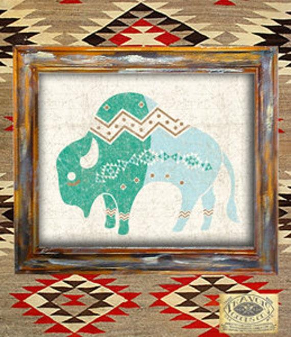 Native American Indian Home Decor: Items Similar To Buffalo-southwest-native American-navajo