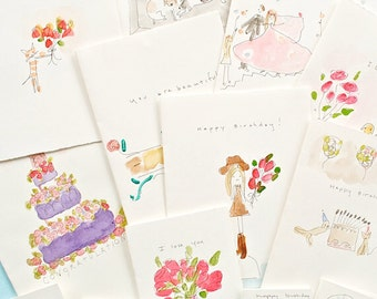 Assorted watercolor greeting cards