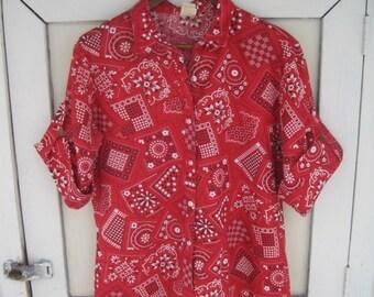 Vintage 70s Era Paisley red and white bandanna style Flowy Shirt - Hippy Retro - Flower Power