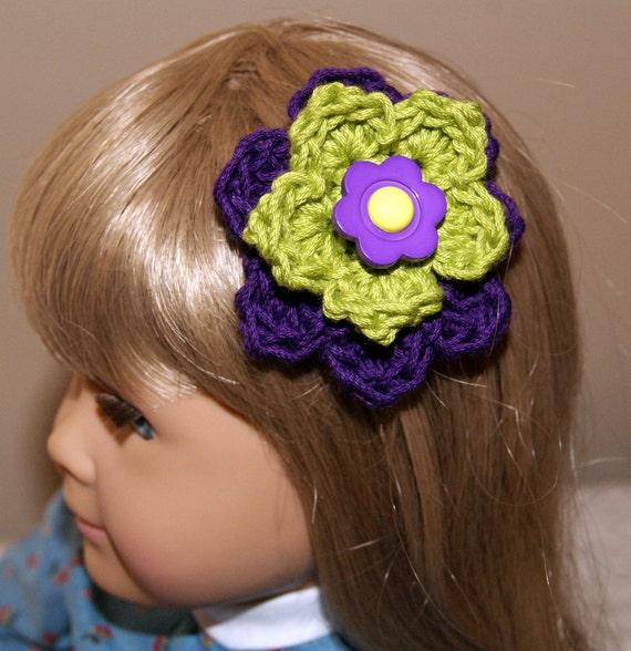 Barrette ~ Crochet ~ Purple ~ Lime Green ~ Hair Accessory ~ Child Hair ...