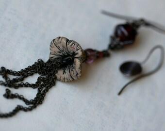 Solo Natura Non Facit Saltum earrings -Asymmetrical . Floral Asymmetrical Unusual . Polymer Clay Assemblage . Boho Bohemian Rustic . Flower