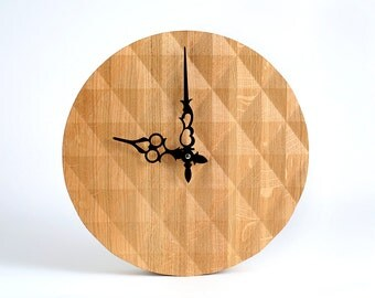 Gorgeous Geometric Solid Oak Wall Clock with a 3-D Surface Pattern // Modern Diamond Pattern Design for a New Home Owner
