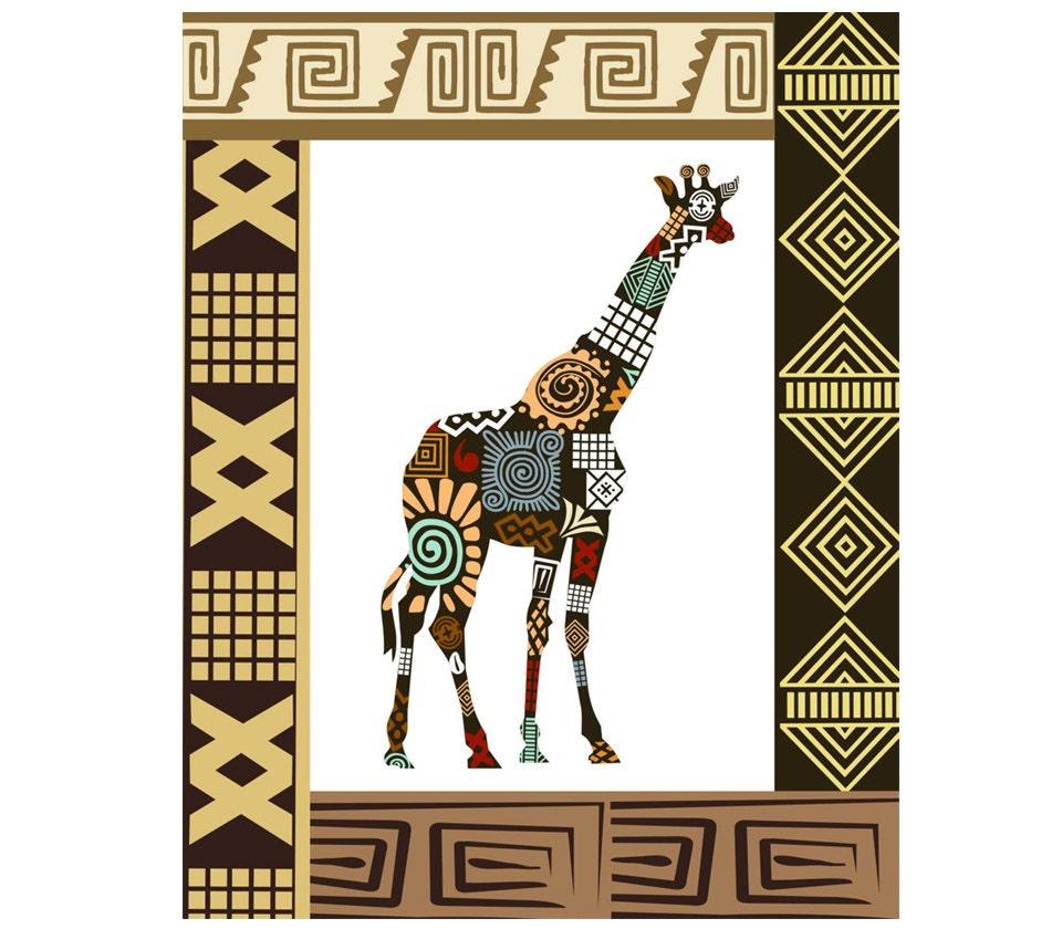 Giraffe art print on wood block wall decor giraffe by iqstudio for African wall decoration