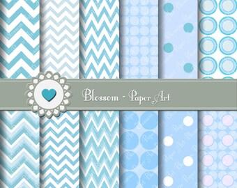 Chevron Light Blue Digital Paper Baby Boy Digital Paper Pack, Polka Dots, Light Blue Digital Papers - 1594
