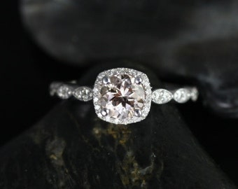 Christie 6mm 14kt White Gold Morganite and Diamonds Cushion Halo WITH Milgrain Engagement Ring (Other metals and stone options available)