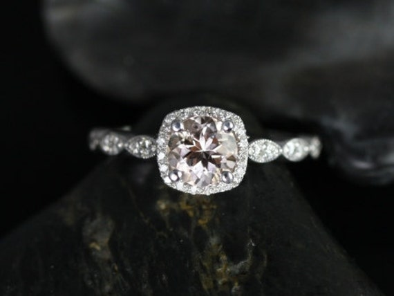 Christie 6mm 14kt White Gold Morganite and Diamonds Cushion Halo WITH  Milgrain Engagement Ring (Other