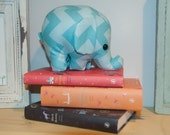baby blue and blue 2 tone chevron - elephant stuffed animal / plush