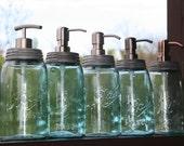 Blue Mason Jar Soap Dispenser with Metal Pump - Blue Quart Jar Lotion Bottle - Ball Mason Dispenser
