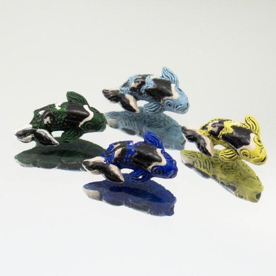 Ceramic tiny koi fish beads mixed colors set of 4 432 55 for Koi fish beads