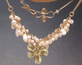 Pearls, Crystal Quartz, Green Amethyst or Citrine Necklace 294