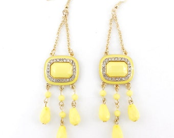 Exquisite Gold-tone Bohemia Style Crystal Light Yellow Long Dangle Drop Statement Earrings D4