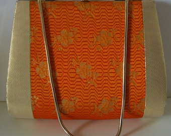 Young girl's handbag, orange and gold brocade, wedding purse, flower girl, vintage Japanese