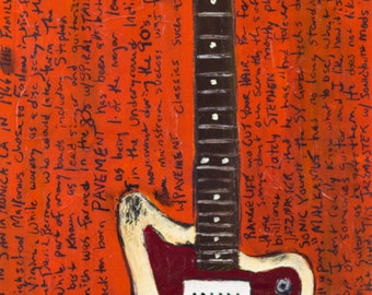 Stephen Malkmus Art.  Vintage Fender Jazzmaster electric guitar art print. Pavement. 11x17. Guitar Art.